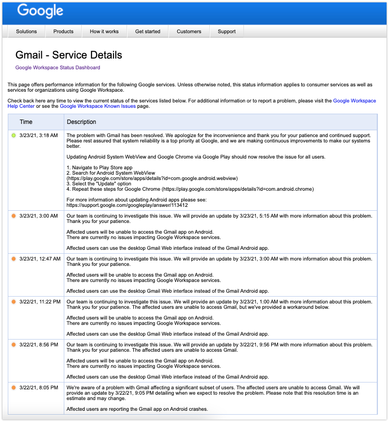 """Status problema Google """"App não responde"""" 22/03/2021"""